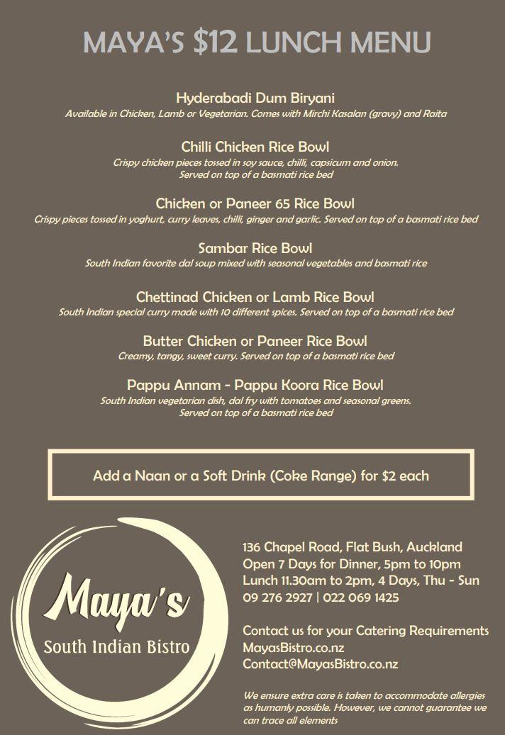 Maya's Lunch Menu