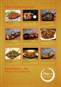 Maya's Dine In Menu Page 1